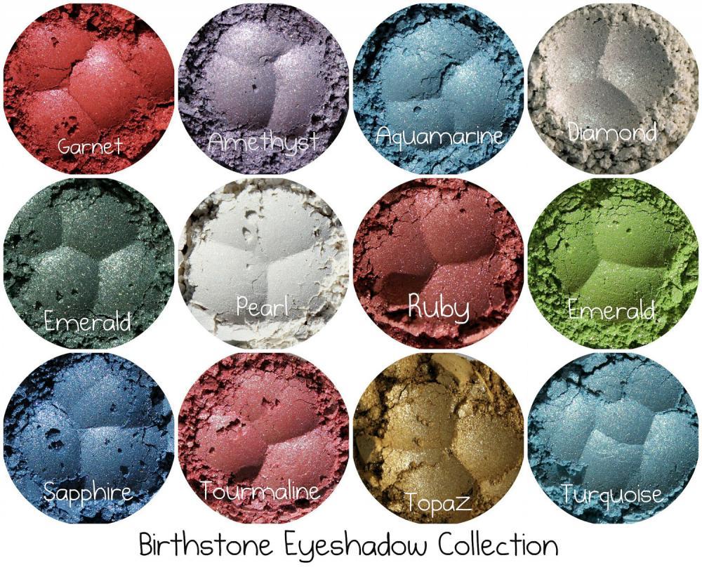 Mineral eyeshadow set, Mineral Makeup, Natural Makeup, Powder Eye Shadow, Cosmetics for Smokey Eyes, 12 Full Size Birthstone colors
